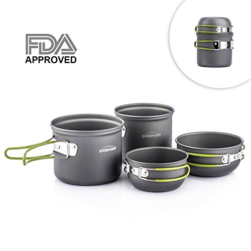 Overmont Portable Outdoor Camping Hiking Picnic Aluminum Alloy Cookware Pot Bowl Set FDA Approved
