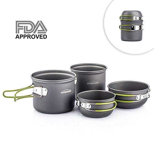 Overmont 4pics Kit de Utensilios de Cocina vajilla ollas Aprobado FDA para Camping Senderismo excursión al Aire Libre de Aluminio