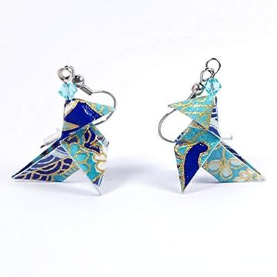 Boucles d'oreilles cocottes bleues - crochets inox