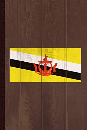 Brunei Flag Journal Notebook: Blank Lined Ruled For Writing 6x9 110 Pages