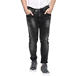 Spykar Mens Black Super Skinny Fit Low Rise Jeans (38)