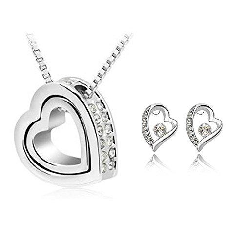 Zizi Eternal doppio cuore collana e orecchini set ~ 5colori, placcato in oro bianco 18K con Swarovski Elements ~ Zizi confezione regalo Dazzling White