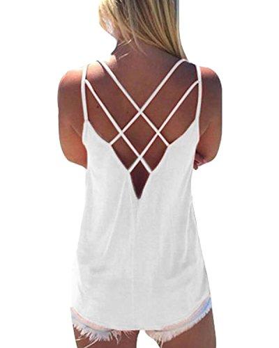 YOINS Oberteile Blusen Damen Tops Sommer Crop Tops Damen Sexy Einfarbig Weiß EU46