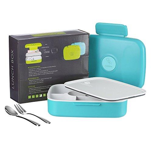 CADEHA | Ausflaufsichere Lunchbox – Bento Box – Brotdose – Vesperdose | für Erwachsene und Kinder | mit Besteck aus Edelstahl | Blau