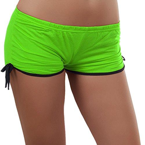 Damen Sport Short im angesagten Retro Stil, eine kurze Hose auch als Panty, Hotpants tragbar 34-38 Grün (Grün Panty Kurz)