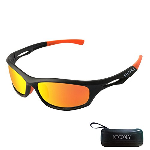 KICCOLY Polarisierte Sportbrille Sonnenbrille Fahrradbrille mit UV400 Schutz für Damen & Herren Autofahren Laufen Radfahren Angeln Golf TR90