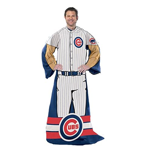 Chicago Cubs MLB Adult Uniform Comfy Throw Blanket w/ Sleeves