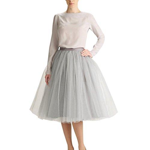 CoutureBridal® 5 Layer Knielanger Rock Elastic Bund Tutu Prinzessin Tüll Grau EU44-46 (Grau Prom Kleider Geschwollene)
