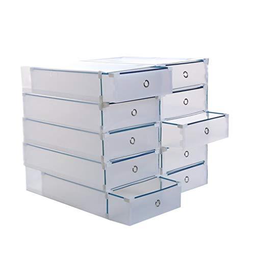 SWEEPID Stiefel-Aufbewahrungsbox 10er-Set, Schuhbox, Schuhkasten, Schuhkarton aus Kunststoff, faltbar, stapelbar, ca. 52 x 30 x 11 cm