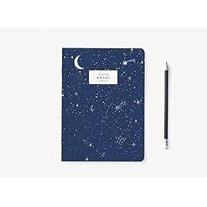 Notizbuch - Moon and Stars - von typealive - Blanko Notizheft A5 im Retro-Galaxy-Design mit schönem Sternenhimmel in Dunkelblau