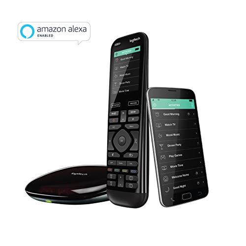 Télécommande Logitech Harmony Elite Advanced pour téléviseur et multimédia, Hub et Application, fonctionne avec Alexa, Noir