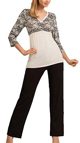 r-dessous hochwertige Damen Nachtwäsche Viskose Pyjama Schlafanzug Hausanzug Shirt + lange Hose Groesse: XXXL