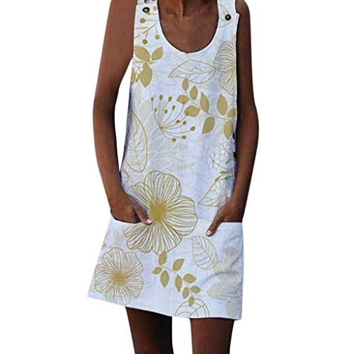 TUDUZ Vestido De Verano Sin Mangas Pequeño Botón De con Estampado Casual Suelto De Moda para Mujer (Amarillo, XXL)