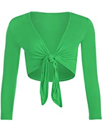WearAll - Neu Damen Achselzucken Binden Langarm Top - 7 Farben - Größe 36-42