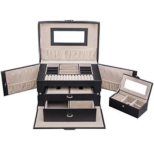 tresko® Joyero Reloj Relojes Caja Estuche Joyero Joyas Caja con mini de joyas para la mano de piel sintética en negro, 17compartimentos, asa