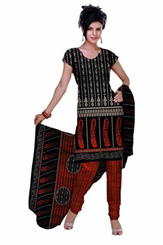 Araham Printed Blackand Red Synthetic Polyester Unstitched Salwar Suit Dress Material