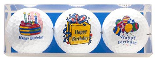 'Anniversaire–Coffret Cadeau de Golf 'Happy Birthday comprenant 3bedruckten Golf Balles–Un Superbe Cadeau/Anniversaire sgeschenk pour chaque golfeur