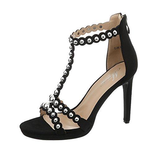 Ital-Design High Heel Sandaletten Damen-Schuhe Pfennig-/Stilettoabsatz Heels Reißverschluss Sandalen & Schwarz, Gr 39, C-36- -