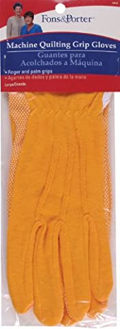 Dritz Cotton Fons and Porter Machine Quilting Grip Gloves 1 Pair-Large-Gold