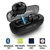 YUES T30 Cuffie Bluetooth 5.0, Auricolari Wireless TWS Leggeri Hi-Fi Cuffie Sport IPX7,15 ore di riproduzione, Earbuds con MIC per IOS e Android con Scatola Ricarica Portatile -Nero