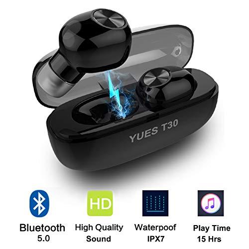 YUES T30 Auriculares Bluetooth 5.0, Inalámbricos Mini Twins Estéreo In-Ear con Caja de Carga Portátil Y...