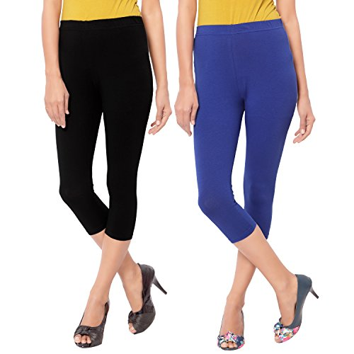 Capri Style Leggings| Blue and Black |3/4 th For Women in 95...