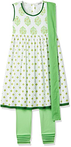Karigari Girls' A-Line Regular Fit Cotton Salwar Suit Set (272486649_WHITE_09Y)