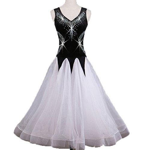Wangmei Professionel Wettbewerb Moderne Tanzkleider Für Damen Performance Kostüme Tango Ballroom Tanz Tanzen Outfit Strass Große Schaukel, White, XXL