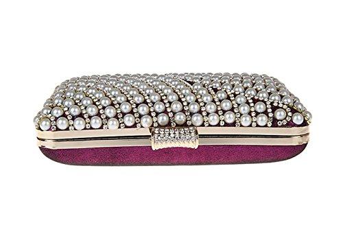 KAXIDY Imitation Perle Strass Designer Damentasche Tasche Clutch Handtasche Abendtasche Brauttasche Lila