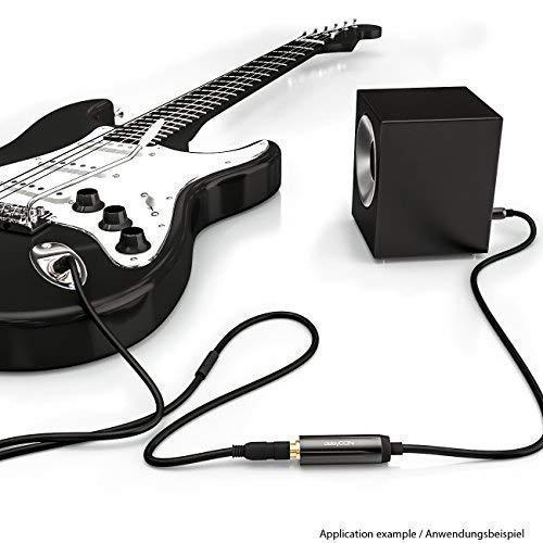 deleyCON 0,2m Stereo Audio Klinken Adapter Kabel - 3,5mm Klinken Stecker zu 6,3mm Klinken Buchse - Vergoldete Klinke Stecker und Buchse - Schwarz - 5