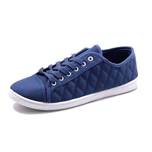 Sneaker Da Donna Basse Sneaker Stringate Da Donna In Tessuto Blu Scuro