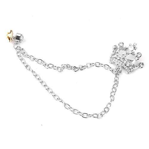 Yililay Männer Retro-Krone-Brosche Crown Quaste Kette Brosche Revers Pin für Mäntel Anzug-Silber Schmuck Zubehör