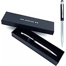 ANTONIO MIRO Bolígrafo Puntero Negro Plata Metálico (tinta azul), Satisfacción Garantizada, Presentación Estuche con logotipo ideal para regalo