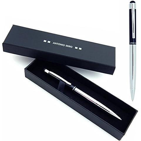 ANTONIO MIRÓ Bolígrafo Puntero Negro Plata Metálico - Satisfacción Garantizada - Presentación Estuche con logotipo ideal para regalo