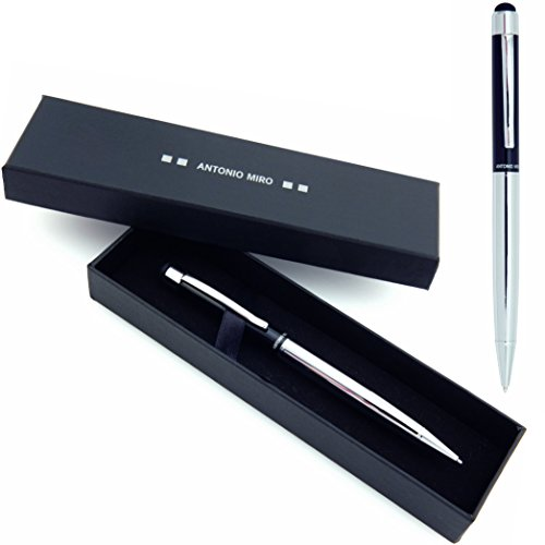 antonio-miro-black-silver-metallic-stylus-ballpoint-pen-blue-ink-satisfaction-guaranteed-presentatio