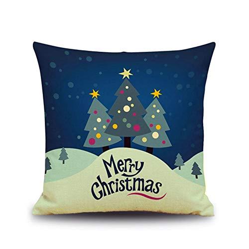 FASTCX Weihnachten und Neujahr Geschenk-Nette Tier Leinen Kissenkissen Rückenkissen Büro Auto von Pillowcase festlichen Weihnachtsbaum 45x45cm frei Kissen