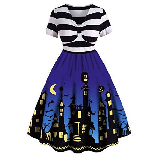 Kostüm Aliens Designer - Vectry Damen Vintage Kleider Halloween Muster Verknotet Kurzarm V-Ausschnitt Hausfrau Mode Hohe Taille Party Abendkleid Karneval Festival Kostüm Blau XL
