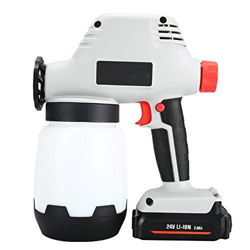 Pistola de Pintura Mano Pistola pulverizadora de Pintura Puede Ajustar el tamaño del Flujo y 3 Patrones de Spray con batería de Litio de 2000mAh y Regadera 1000ml