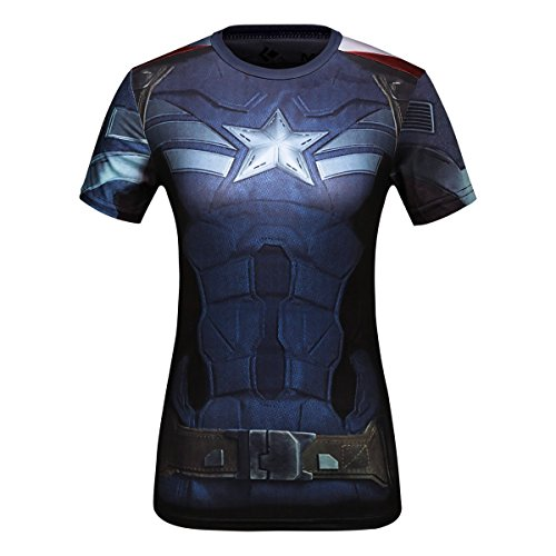 Cody Lundin Damen-T-Shirt, Sport, Fitness, Laufen, Yoga, Tanz, Motiv Superhelden Captain America