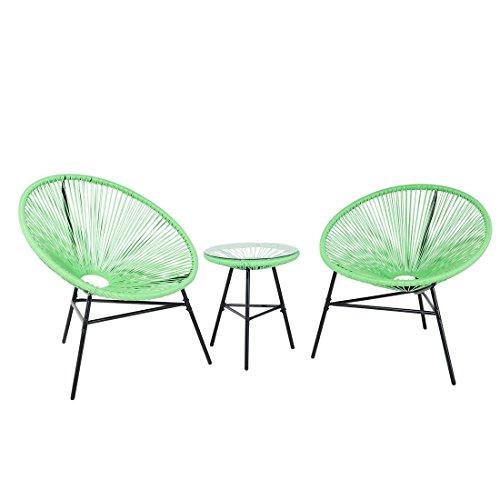Beliani Tisch und 2 Gartensessel Spaghetti - Kordel grün Acapulco