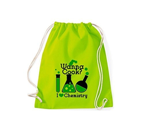 Gymsack Borse palestra Wanna Cook? Provetta I love Chimica - rosso, 37 cm x 46 cm lime