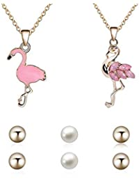 17e8c72680 iEay Set of Ladies Jewelry Sets of 2 Pcs Pink Flamingo Pendant Necklaces  and 3 Pair