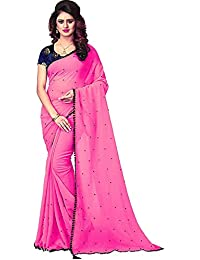 Krishna Fashion Marbal Moti and Lace Work saree with blouse