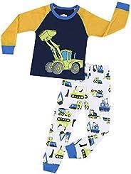 HIKIDS Pijama Niño Invierno-Pijama para Niños-Pijamas de Astronauta Cohete Planeta Excavador Tractor Coche Cam