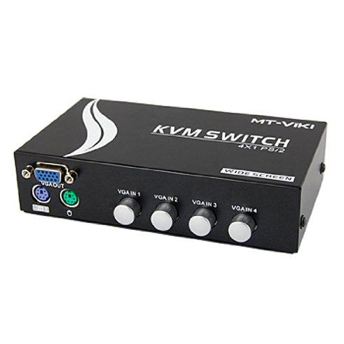 sourcingmap® 4 VGA 8 PS/2 Anschlüsse Blk Breitbildschirm KVM Switch Box