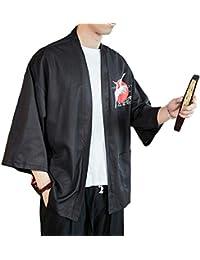 Kimono,Hombres Japonesa Retro Imprimiendo Chaqueta Manga Larga Cardigan