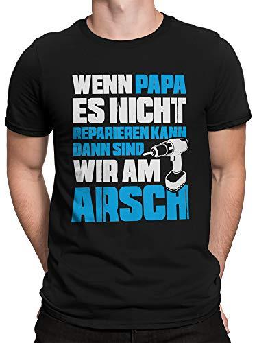 vanVerden Herren T-Shirt Wenn Papa es Nicht reparieren kann sind wir am Arsch, Größe:L, Farbe:Schwarz/Blau