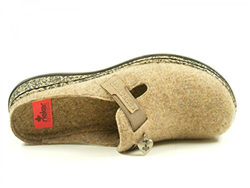 Rieker Damen 46300 Clogs Braun (Wood/kiesel)