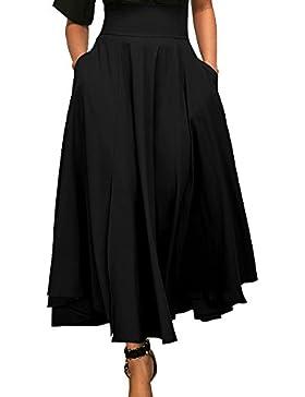 Mujeres Falda De Cintura Alta Swing Plisada De Longitud Completa Slit  Ceñido Maxi Faldas ec4b1ec518a7