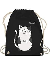2 in 1 jugendlicher Rucksack für Mädchen Schultertasche Katze Motiv schwarz